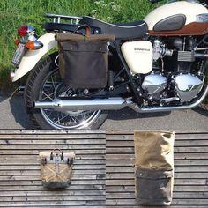Motorbike bag / Motorcycle bag / Bicycle bag in waxed canvas / Bike accessories Motorcycle Luggage, Motorcycle Camping, Scrambler Motorcycle, Motorcycle Style, Camping Gear, Ranger, Royal Enfield, Bike Panniers, Motorcycle Saddlebags