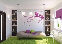 Cool loungy feel in this green and purple teen girls bedroom - Tween/Teen Bedrooms