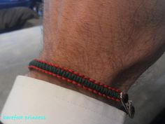 """italian racer"" bracelet in red and green silk cord & silver 925 clasp"
