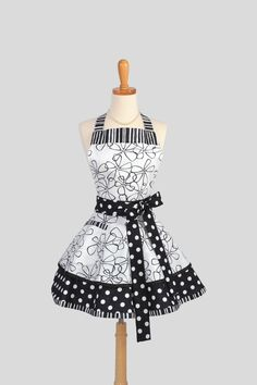 Ruffled Retro Apron .  Sexy Womens Apron in Black and White Dots and Stripes Handmade Full Kitchen Apron.