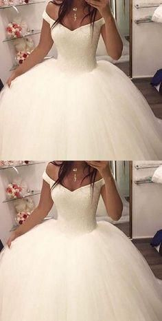 Off the shoulder ball gown wedding dresses,bridal gown, 2017 ball gown wedding dresses, dresses for bridal, elegant prom dresses - Elegant Prom Dresses, White Wedding Dresses, Bridal Dresses, Wedding Gowns, Tulle Wedding, 2017 Wedding, Wedding White, Perfect Wedding, Elegant Gown