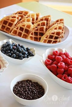 waffle bar- that would be an ideal breakfast surprise. waffles with strawberries, whipped cream, bananas, syrups, bacon and orange juice. Mmmmmm. I love breakfast