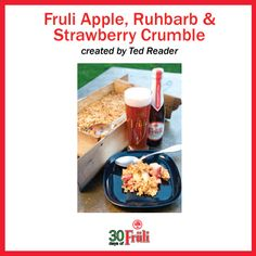 Cooking with Beer: Fruli Crumble from Ted Reader's cookbook Beerlicious! Cooking With Beer, Delicious Food, Ted, Oatmeal, Strawberry, Favorite Recipes, Apple, Breakfast, Desserts