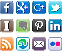 Social media icons for blogs and includes an icon for Pinterest and Google+.