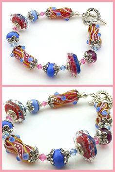 Fair Play Bracelet Art Glass Beads by by BastilleBleuLampwork, $99.00