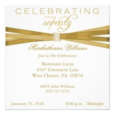Elegant 70th Birthday Party Invitations 75th Parties Fiftieth