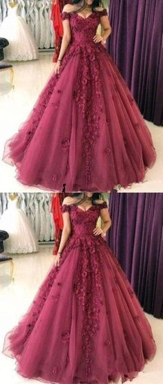 Simple Prom Dresses, burgundy ball gowns quinceanera dress elegant prom dress burgundy wedding dress off the shoulder quinceanera dress sweet 16 dress sweet 15 dress LBridal Sweet 15 Dresses, Elegant Prom Dresses, Pretty Dresses, Burgundy Quinceanera Dresses, Dress Formal, Formal Prom, Burgundy Wedding Dresses, Long Dresses, Floral Prom Dresses