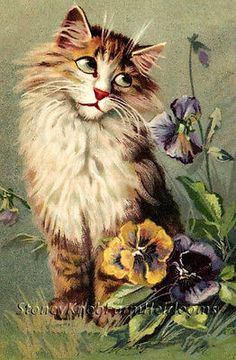 Cat Among the Pansies ~ Vintages Cats, Kittens, Flowers ~ Cross Stitch Pattern | eBay
