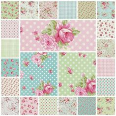 Rosey 23 Fat Quarter Set by Tanya Whelan for Free Spirit Decoupage Vintage, Vintage Paper, Shabby Chic Stoff, Shabby Chic Fabric, Printable Scrapbook Paper, Printable Crafts, Girls Quilts, Motif Floral, Fabric Wallpaper