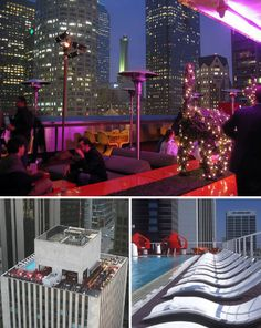Not only can you catch a stunning view of downtown Los Angeles from atop the Standard Hotel, you can catch a flick projected onto a neighboring skyscraper. The Standard features a dance floor, a pool with curving white lounge chairs and a patio with red waterbed 'pods' where you can relax and gaze out at the city.