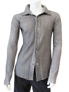Lumen et Umbra shirt in ecofriendly wool jersey, without cuffs, slim fit @ EUR 110.00 from dressspace.com