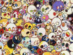 "Takashi Murakami's ""Flowers & Skulls"" at Gagosian Gallery Murakami Artist, Japanese Art Modern, Gagosian Gallery, Takashi Murakami, Art Japonais, Modern Metropolis, Psychedelic, Sculptures, Illustration Art"