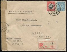 CHINA-V-RARE-WWII-1944-Censored-R-Cover-to-Lund-Sweden-via-Russia-Turkey-Egypt