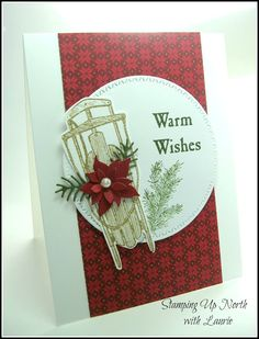Warm Wishes card using SU Winter Wishes + MB Poinsettia dies (Stamping Up North blog)