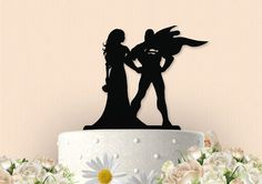 This awesome Mr and Mrs Superman Silhouette cake topper is a unique way to showcase your cake on the special day. Topper is made from High Quality, Superman Cake Topper, Superhero Cake Toppers, Superman Cakes, Cupcake Toppers, Wedding Cupcakes, Wedding Cake Toppers, Diy Wedding Gifts, Wedding Ideas, Wedding Stuff