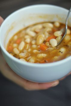 White Bean Soup with Bacon.  Perfect for crisp Fall days.  My favorite recipe is from Not Your Mother's Slow Cooker Cookbook