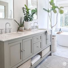 DOUBLETAP IF YOU ❤️LOVE❤️ THIS!!👍🏻👍🏻 It's hard to go wrong with a soothing color palette & pop of live greenery🌿 like Marcie's bathroom of… Glass Shower Doors, Diy Bathroom Decor, Double Vanity, Vibrant, Stained Glass, Double Sink Vanity, Stained Glass Windows, Leaded Glass