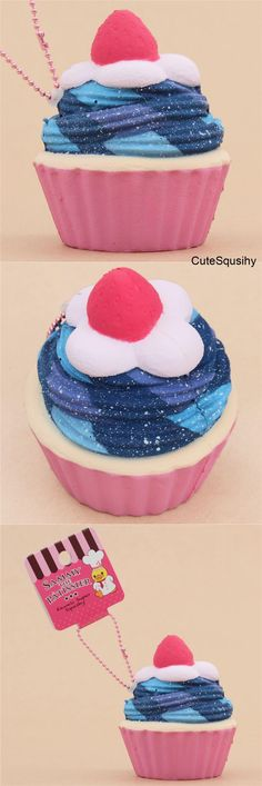Kawaii Sammy galaxy cupcake with a pink liner, whipped cream, and a strawberry squishy! I Am A Unicorn, Unicorn Party, Girl Toys Age 5, Toys For Girls, Galaxy Cupcakes, Balle Anti Stress, Cute Squishies, Sammy, Resin Charms