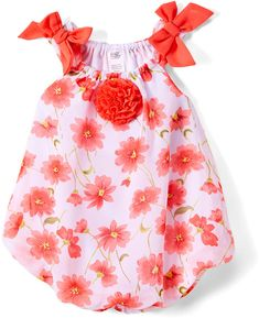 Zulily Coral & White Floral Bubble Romper #babygirl, #romper, #promotion
