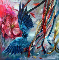 """Blue Bird"" acrylic painting, size 80 x 80 cm http://agaosak.com/"