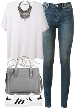 Untitled #2881 par london-wanderlust utilisant collier à plusieurs rangs T By Alexander Wang white tee, €170 / BLK DNM skinny jeans / Balenciaga leather tote bag, €1.235 / Collier à plusieurs rang,...