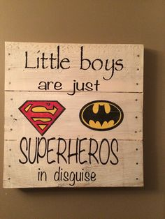 Batman Superman Superhero rustic pallet sign.