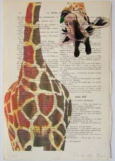 Giraffe with green leaf-ARTWORK Hand Painted by Coco De Paris. $12.00, via Etsy.