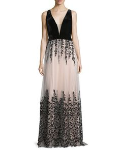 Sleeveless+Floral-Embroidered+Combo+Gown,+Nude/Black+by+Jovani+at+Neiman+Marcus.
