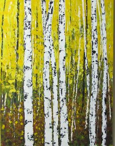 Golden Aspen Birch Art Original Acrylic Painting on Large Canvas. 30 x 40 Large Painting    30 x 40 Professional Wrapped Canvas. Sides are finished and painted the same as the painting. Gloss Varnish is applied in duplicate layers for protection from elements, UV Rays, and for preservation of art for years to come.    Art is signed by the artist and ready to hang right out of the box.    Painting is also signed, dated and stamped on back.    All art is insured and quality packaged and ship…