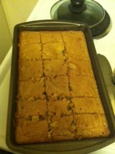 Georgia #Cornbread #Cake: Recipe of 86 year old lady that has been cooking since she was 9 and recipe has been in her family for many years. Ground pecans give it a texture of cornbread, but there isn't any cornmeal in it.