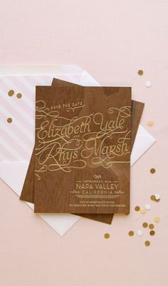 Walnut wood veneer with gold foil Save the Date  |  Anticipate Invitations