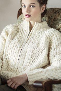 Carraig Donn Irish Aran Wool Sweater Womens Cable Knit Buttoned Cardigan Sweater