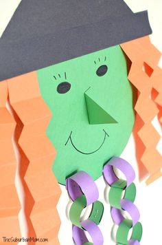 Witch Halloween countdown craft - kids craft project with template. Plus Girl Scout Daisy Blue Petal Lupe lesson idea.