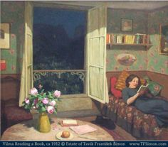 Vilma Reading a Book © Estate of Tavik František ŠIMON (Austria 1877-1942 Bohemia, Czech Republic).  Artist bio & art gallery at the Web Museum:  http://www.tfsimon.com More on the artist:  http://en.wikipedia.org/wiki/T._F._%C5%A0imon    How perfectly cozy! The perfect at-home vacation. -pfb [Do not remove caption. International copyright law requires YOU to credit the copyright holder(s) by name.  Link directly to their website.] http://pinterest.com/pin/86975836526856889/