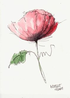 """Original artwork of a single lovely red poppy flower with a green leaf rendered in pen, ink and watercolor. The poppy watercolor is painted with a mixture of warm and cool reds that makes it stand out against the white background. It is titled """"Poppy With White Background"""" and is"""