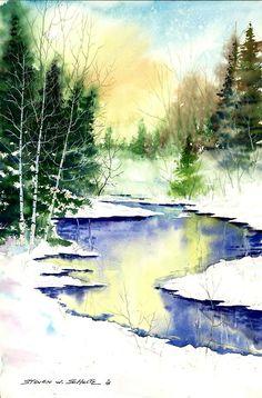 Winter Creek by Steven W Schultz ~ watercolor