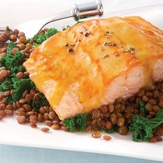 Honey Mustard-Glazed Salmon with Lentils & Kale - Clean Eating - Clean Eating