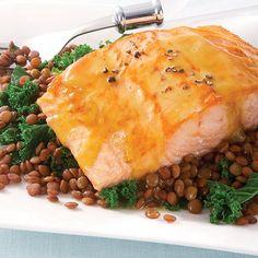 Honey Mustard-Glazed Salmon with Lentils & Kale