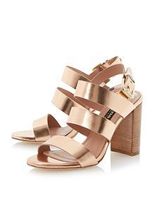 Larna leather stacked heel buckle sandals House of Fraser