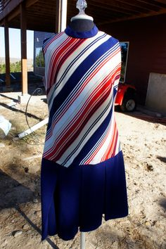 blue red white and tan striped sleeveless drop waist by gleaned