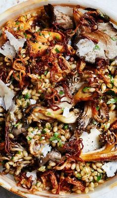 Barley salad with butter basted mushrooms recipe: A great alternative to stuffing for Thanksgiving. salads for thanksgiving dinner Herby Barley Salad with Butter-Basted Mushrooms Recipe Veggie Recipes, Whole Food Recipes, Vegetarian Recipes, Dinner Recipes, Cooking Recipes, Healthy Recipes, Warm Salad Recipes, Healthy Mushroom Recipes, Quick Recipes