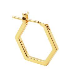 MEHEM silver hexagon pierced earring MH124-JP057-700 #mehem #piercedearring #silver #rhodiumplated #hexagon #em #normcore #emgrp