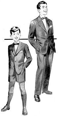 """(1956) Belo """"costume"""" para meninos e rapazes. Em tecido mescla e pura lã. Apropriado para eventos sociais como formaturas, casamentos, etc."""