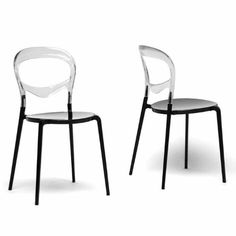 Wholesale Interiors Baxton Studio Orlie Black and Clear Colorblock Modern Dining Chair