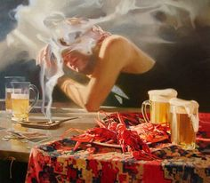"""Saatchi Art is pleased to offer the painting, """"More beer!,"""" by Alexey Chernigin. Original Painting: Oil on Canvas. Henri Matisse, Claude Monet, Pablo Picasso, Vladimir Volegov, Thomas Couture, Claudia Tremblay, Frank Dicksee, Kim English, Graffiti"""