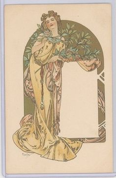 MUCHA-DESSIN POUR UN MENU-WEILL# 78-DESIGN FOR A MENU - CHAMPENOIS, SERIE 6-PARIS 1900