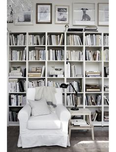 All white library