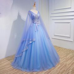 Gorgeous Medieval Wedding Dresses v Neck Blue And Purple Tulle wedding gowns with long sleeves large sleeves style vestido novia
