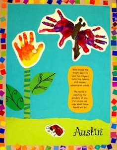 mrspicasso's art room: What These Hands Can Do. Who knows the bright secrets Your ten fingers hold. The talents still hidden, Adventures untold. The world is awaiting The wonders of you. For no one can copy What these hands will do. Kindergarten Art, Preschool Activities, Preschool Projects, Weather Kindergarten, April Preschool, Sleepover Activities, Educational Activities, Toddler Preschool, Toddler Crafts
