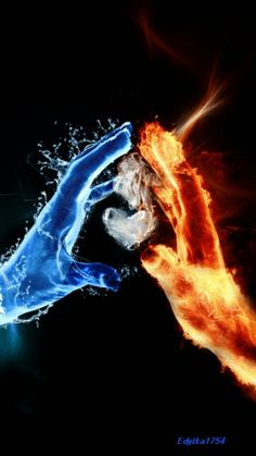 "Gif: Fire And Water Hands With Heart Fire and ice hands and heart Love is the Water of Life. And a Lover is a soul of Fire. ""The Universe turns differently when Fire Loves Water. Types Of Dragons, Foto Madrid, Avatar The Last Airbender, Belle Photo, Fantasy Art, Cool Art, Art Photography, Cool Stuff, Painting"